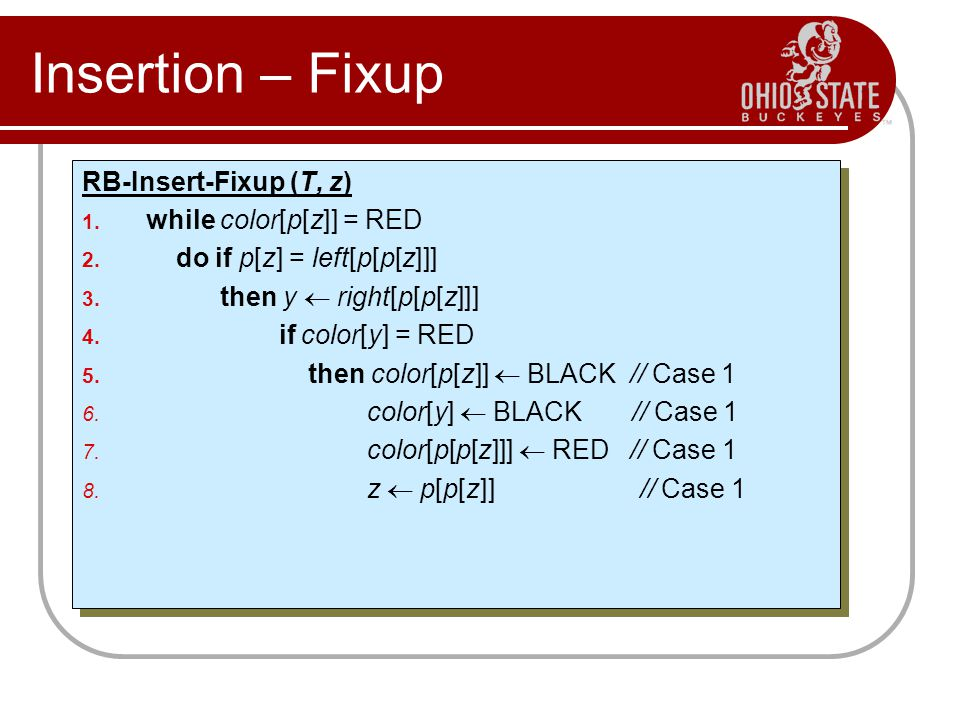 Insertion – Fixup RB-Insert-Fixup (T, z) while color[p[z]] = RED